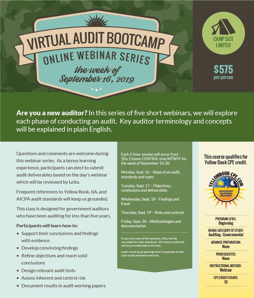 September 2019 Virtual Audit Bootcamp
