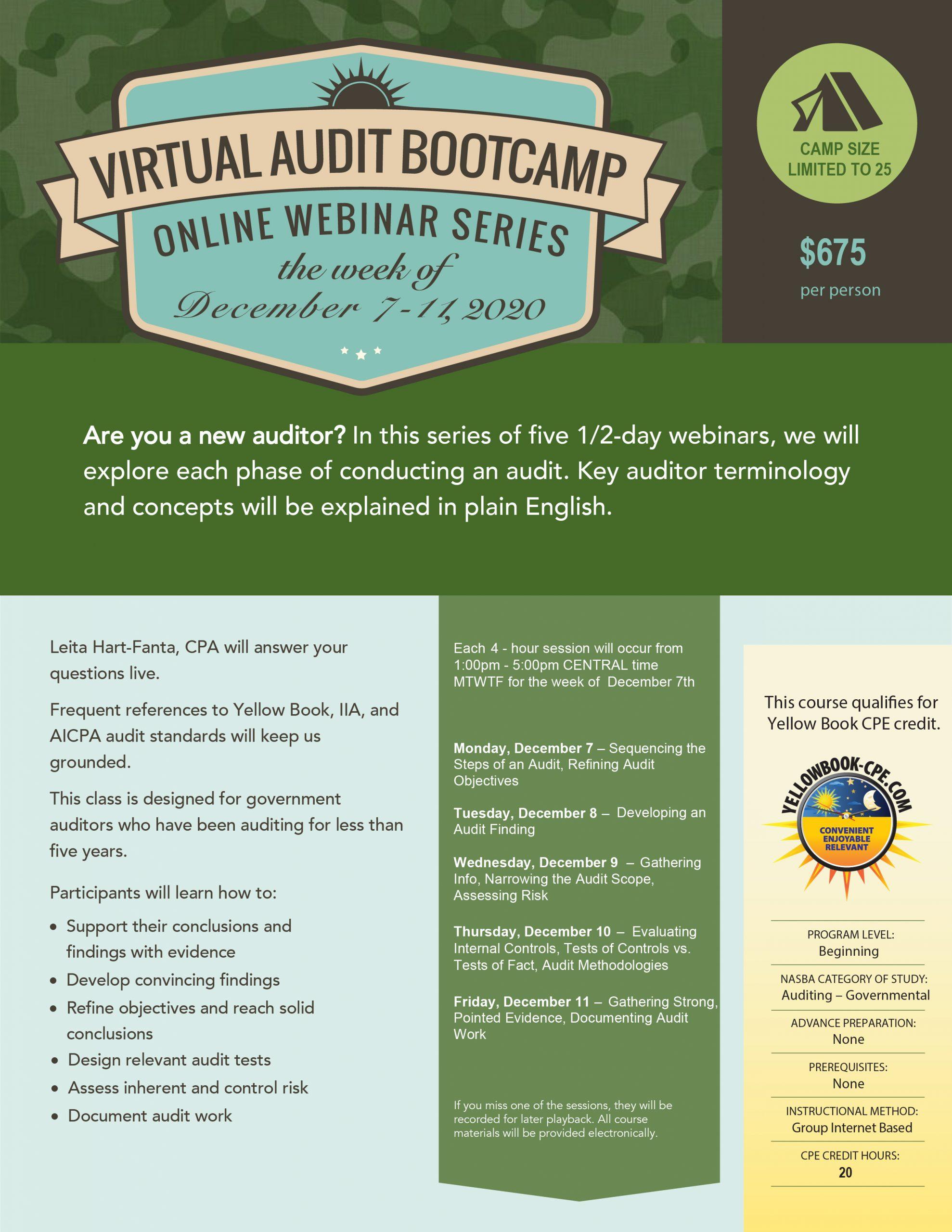 Virtual Audit BootCamp december 2020